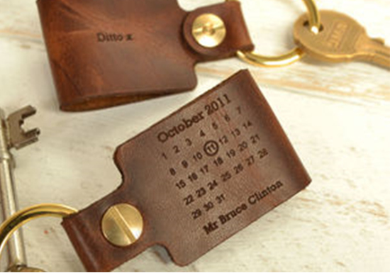 Leather anniversary keyring