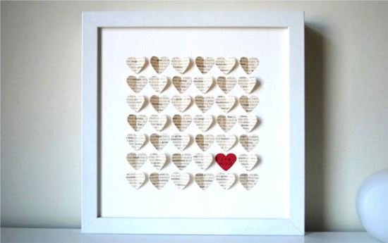 Creative ideas for wedding anniversary gifts my wedding anniversary paper hearts in frame negle Gallery