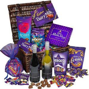 Cadburys chocolate and wine gift make a great anniversary gift.