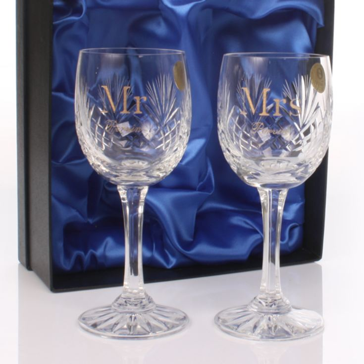 Mr & Mrs engraved wine glasses make a great 23rd wedding anniversary gift.