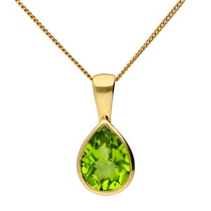 Peridot necklace is the gem stone for the 16th anniversary and a thoughtful gift for her.