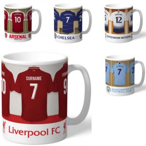 Buy him a personalised football team mug for this anniversary gift.