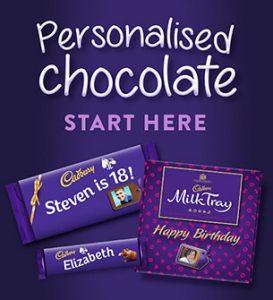 Buy him a personalised chocolate bar from Cadbury.