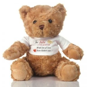 Buy your wife a personalised special wife teddy bear for your anniversary.