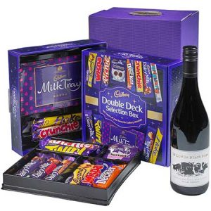 Buy him a Cadbury selection box and red wine gift.
