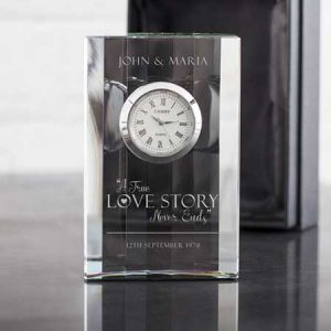 Buy her a personalised crystal clock with a love story
