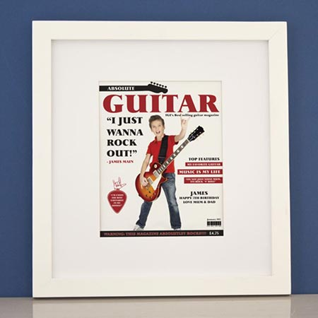Buy him a personalised guitar magazine print in white frame.