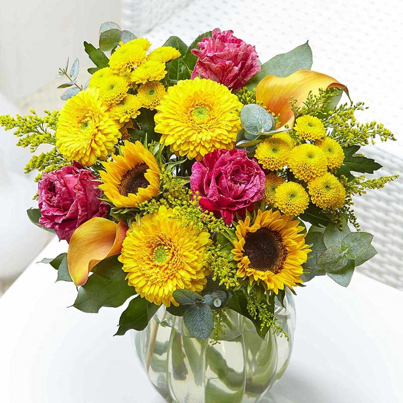 The flower for this anniversary is Cosmos, a type of sunflower, buy your loved one a bouquet of flowers.