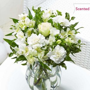 Buy her a bouquet of white scented flowers from Flying Flowers on this anniversary