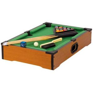 Buy a wooden table top pool set for his anniversary.