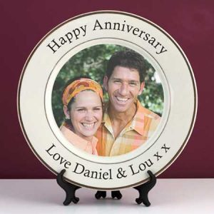 Buy them a personalised anniversary photo plate.