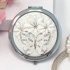 Buy her an Engraved Sophia Silverplated Crystal And Butterfly Compact Mirror.