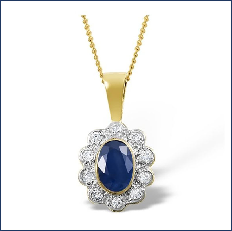 Buy her 9K Gold 0.10ct Diamond Sapphire Pendant