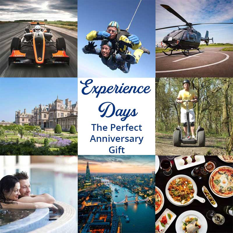 Experience days for the couple make a great anniversary gift.