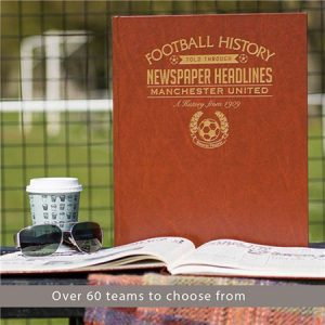 Buy him a football history book with over 60 teams to choose from.
