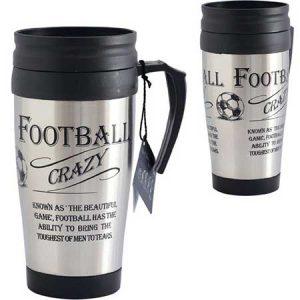 Buy him a football thermos travel mug.