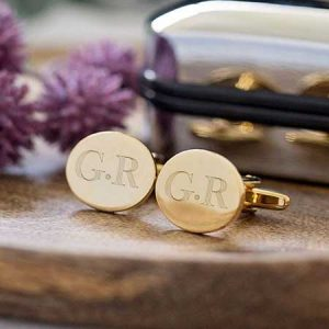 Buy him some Engraved Gold Plated Cufflinks With Personalised Gift Box for this anniversary gift