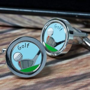 Buy him a Personalised Golf Club and Ball Cufflinks