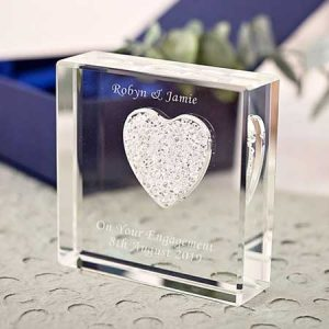 Buy her Personalised Glass Paperweight With White Diamante Heart