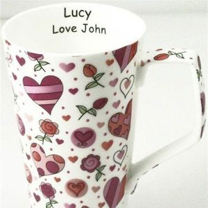 Buy her a personalised bone china hearts and rosed mug