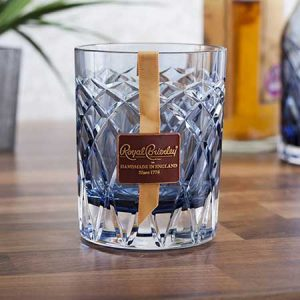 Buy him Royal Brierley Cut Crystal Harris Ink Blue Whisky Tumbler gift on this anniversary