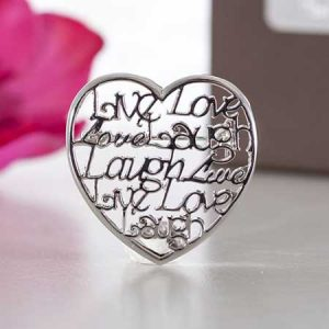 Buy her a Live, Laugh, Love brooch for this anniversary gift.