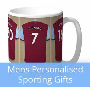 Buy him a personalised sports gift, mugs, posters and much more.