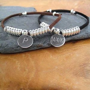 Buy him Mens Suede Discs Bracelet for this anniversary gift.