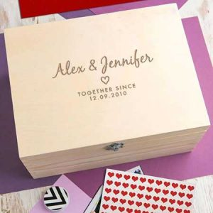 Buy the couple a personalised anniversary wooden keepsake box