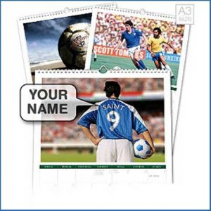 Buy him a fun gift like a personalised football fan calendar