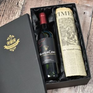 Buy him Vintage Bordeaux Wine & Newspaper from A Special Date.