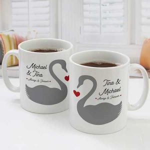 Buy them a Personalised Pair Of Romantic Swans Mugs
