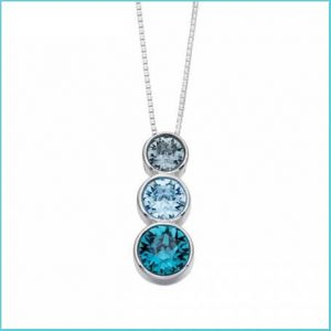 Buy her a traditional gem gift Triple Rubover Swarovski Indian Sapphire Aquamarine Indicolite Pendant