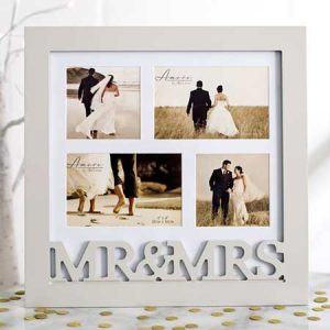 Buy them a Mr & Mrs wooden collage picture frame.