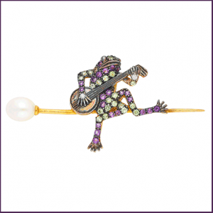 Buy her the Amethyst Peridot & Cultured Pearl Frog Playing Guitar Brooch