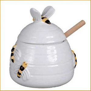 Buy them a ceramic honey pot for this anniversary gift