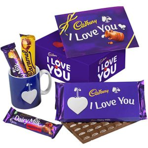 Buy him the I love you chocolate mug set.