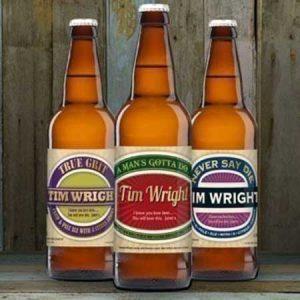 Buy him Personalised Beer 3 pack Man's Virtues Set label