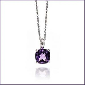 Buy her Silver & Check Amethyst Pendant Necklace for this anniversary gift