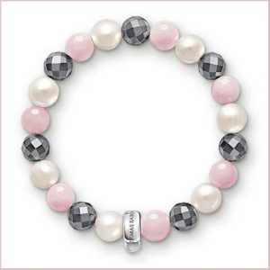 Buy her Thomas Sabo Grey Pearl Pink Charm Bracelet for this anniversary gift