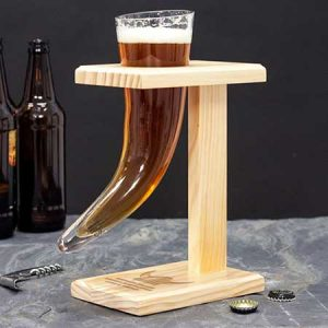 Buy him the viking beer horn with personalised stand