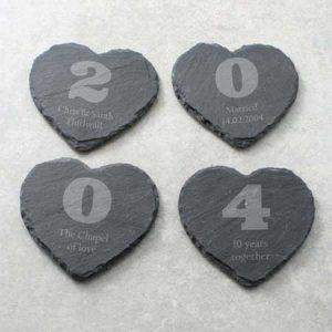 Buy thm a set of personalised Your Year slate coasters