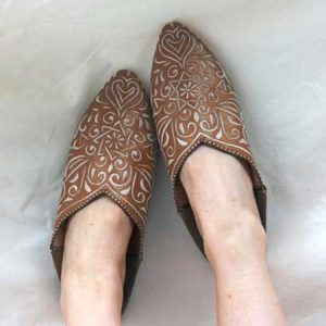Buy her Moroccan Decorative Babouche Slippers in Terracotta hand made