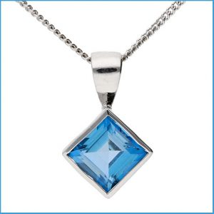 Buy her this 9ct White Gold 7mm London Blue Topaz Solitaire Pendant