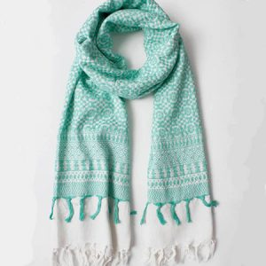 Buy her this Embroidered Scarf in Mint for her anniversary gift.