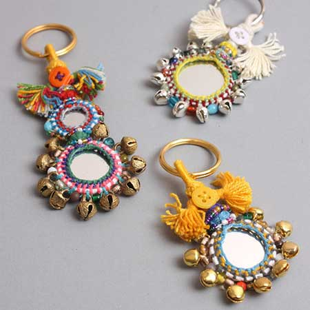 Buy her a Boho beautiful handmade mirror keyring embellished with colourful decorated mirrors, tassels, beads and bells