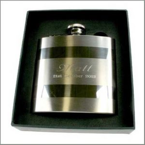 Buy him this engraved satin steel hip flask