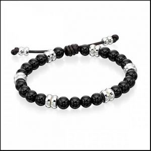 Buy him this Fred Bennett Silver Black Onyx Beaded Bracelet for his anniversary gift