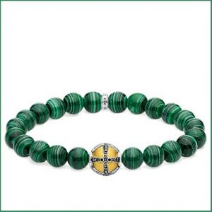 Buy him this Thomas Sabo Green Royal Cross Beaded Bracelet for the 12th anniversary gift