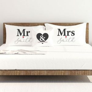 Buy them this mr and mrs personalised pillowcase set
